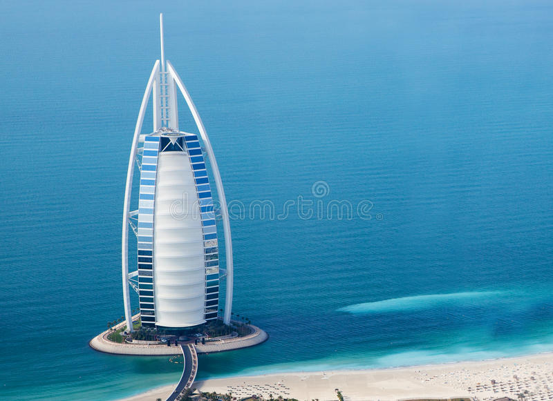 Dubai, UAE. Burj Al Arab von oben lizenzfreie stockfotografie