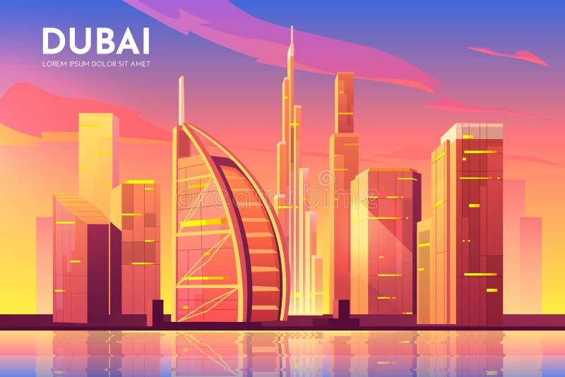 Dubai, UAE city. United Arab Emirates cityscape. Dubai, UAE city view. United Arab Emirates cityscape architecture background, modern megapolis skyline with royalty free illustration