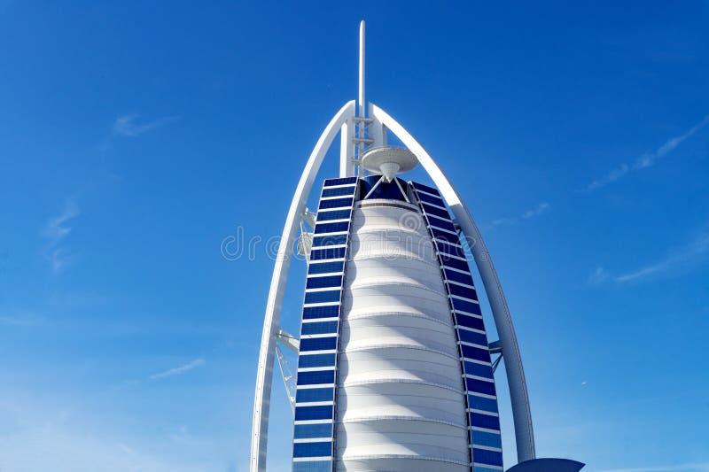 Dubai,UAE / 11. 06. 2018 : Close up Burj Al Arab with blue sky stock photos