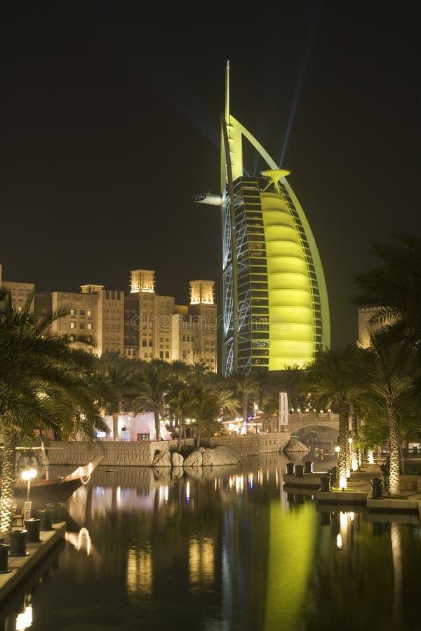 Dubai UAE colourfully lit world famous Burj Al Arab hotel Dubai icon royalty free stock photos