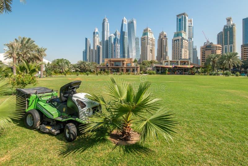 Dubai, UAE - 12 de enero de 2019: Tractor de siega del césped en un campo verde delante de los rascacielos del puerto deportivo d imágenes de archivo libres de regalías