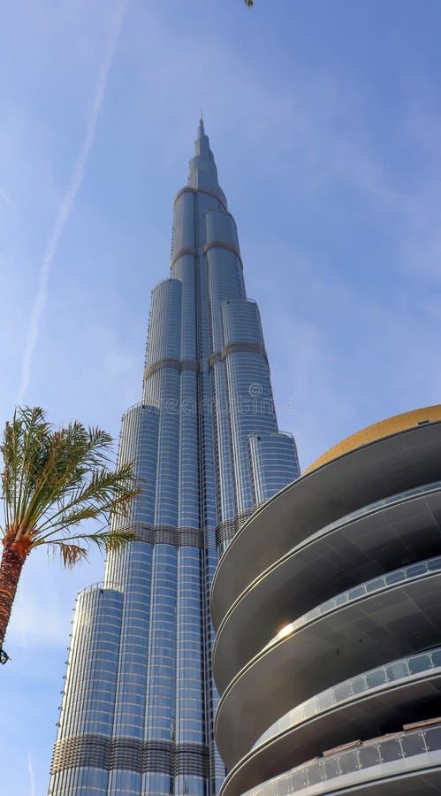 Dubai UAE December 25/2018 Burj khalifa Arkitektur som bygger dubai horisont Flyg- sikt av den Förenade Arabemiraten staden arkivfoto