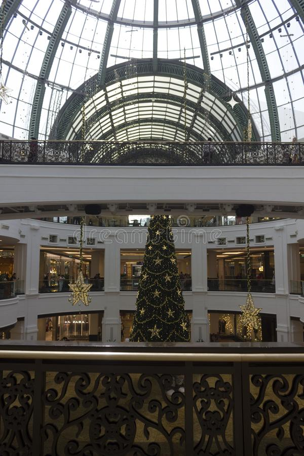 Mall of the Emirates shopping center interiors during Christmas time stock photography