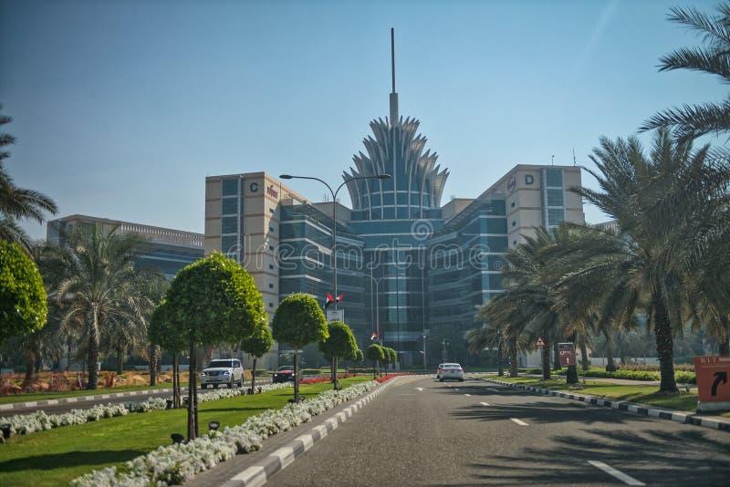DUBAI, UAE - 6. DEZEMBER 2016: Silikon-Oasengebäude auf einem sunn lizenzfreies stockbild
