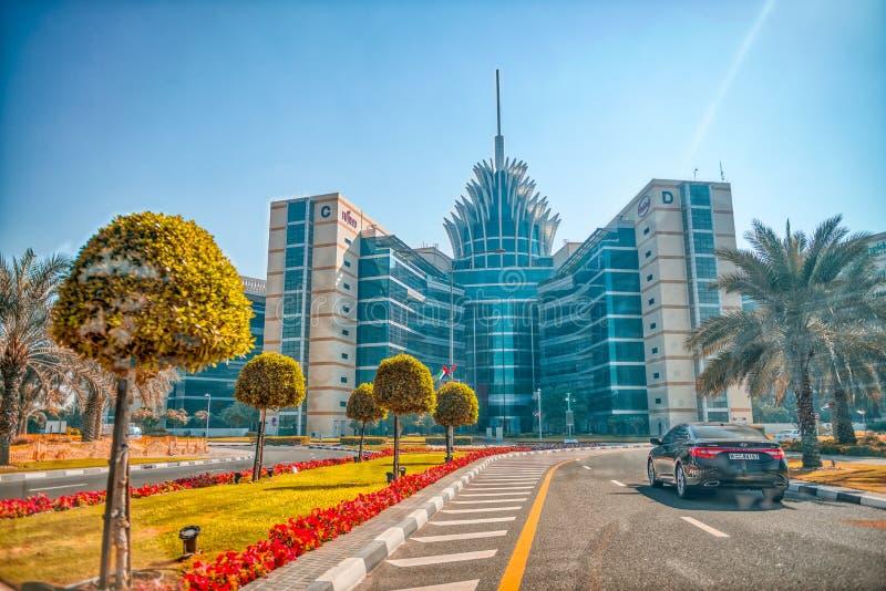 DUBAI, UAE - 6. DEZEMBER 2016: Silikon-Oasengebäude auf einem sunn stockbilder