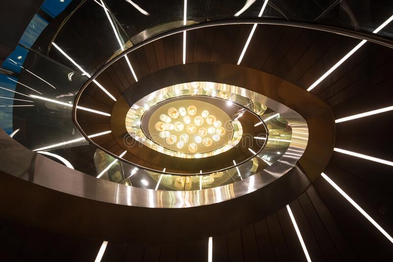 Staircase at the top of Burj Khalifa to observation deck royalty free stock photo