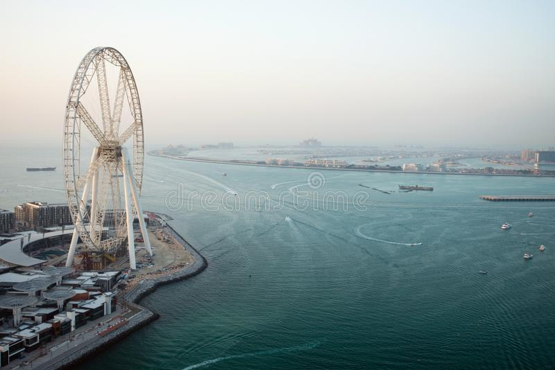Aerial view of the Dubai Eye in Dubai, UAE stock photography
