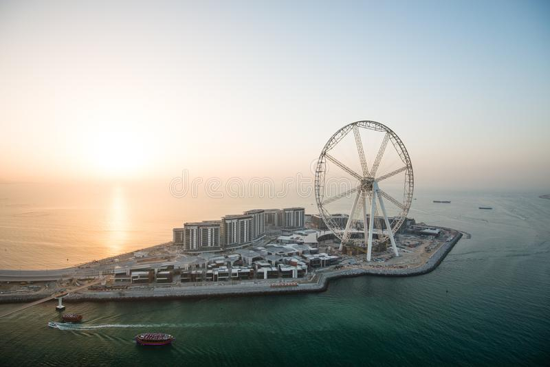 Aerial view of the Dubai Eye at sunset, UAE stock image