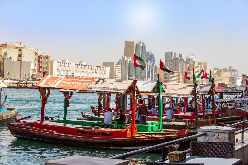 Dubai, UAE - February, 2018: Ancient means transportation - arab boat Abra. Dubai Creek. Water taxi. stock image