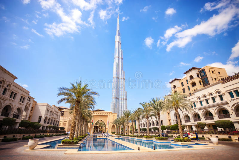 DUBAI, UAE - FEBRUARY 24 - Burj Khalifa, the highest building in the world, 829.8 m tall. Pic stock photography