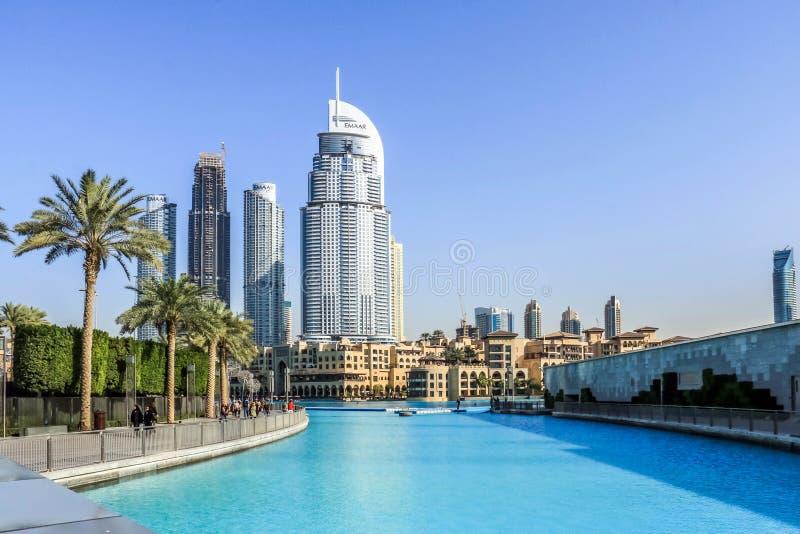 DUBAI UAE - Januari 25, 2019: Adresshotellet, ett hotell för fem stjärna i det Emaar området den i stadens centrum Dubaien, Fören arkivfoton