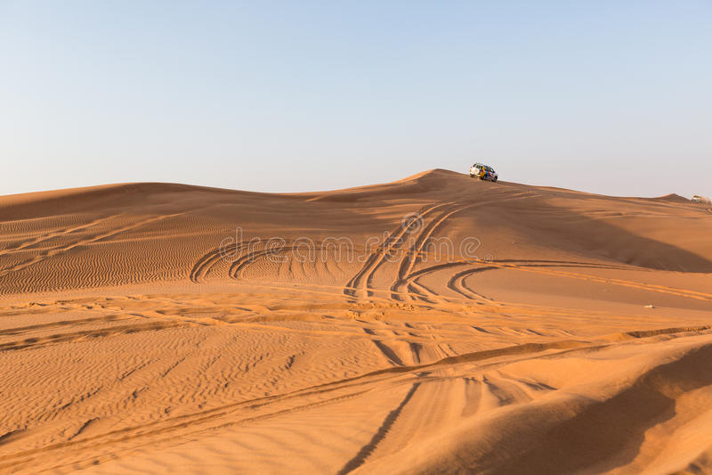 DUBAI, UAE-JANUARY 20: Jeep safari, 20, 2014 in Dubai, UAE. Jeep. Safari in the Arab desert stock image
