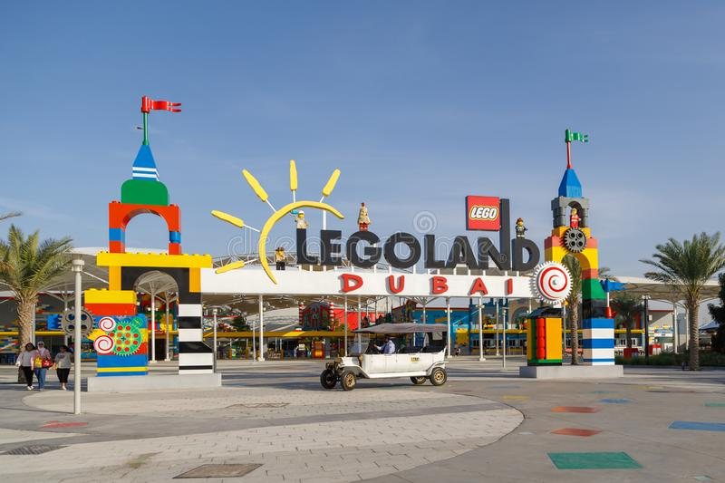 View of the main entrance to the amusement park Legoland stock photo
