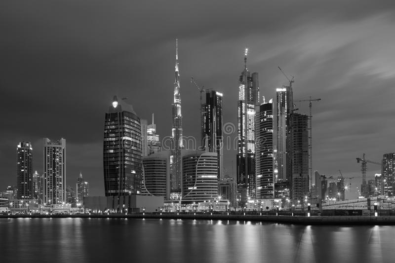 DUBAI, UAE - MARCH 24, 2017: The evening skyline over the Canal and Downtown stock images