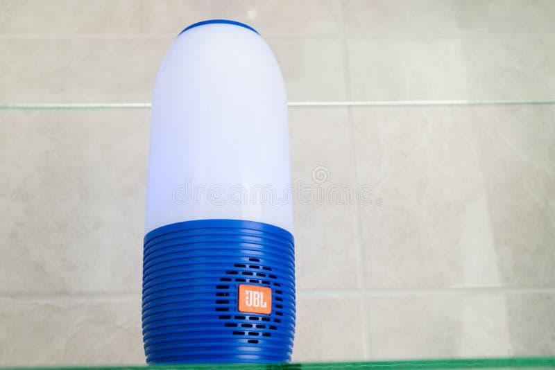 DUBAI, UAE - MARCH 14, 2019: JBL bluetooth speaker in the hotel bathroom stock photo