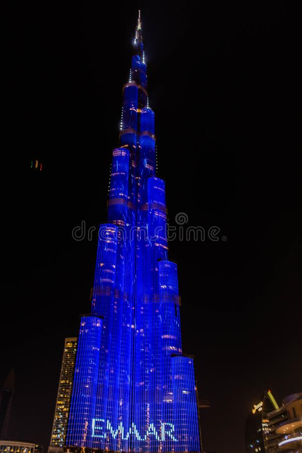 Dubai, UAE - 01/01/2019 -The Multi-Colored Laser Show And Light Works,  Burj Khalifa World Biggest Skyscraper Lit Up In Celebratio stock photo