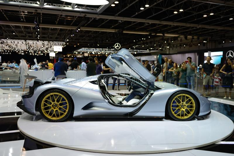 The Aspark Owl sports electric car is on Dubai Motor Show 2019 stock photography