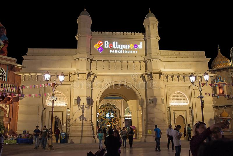 DUBAI, UAE - November, 17, 2017: Entrance Bollywood Park at Dubai Parks and Resorts. Main gate. Dubai, United Arab Emirates. stock photo