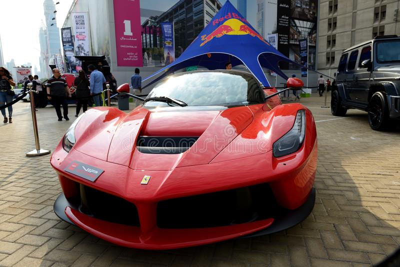 The Ferrari LaFerrari  sportscar is on Dubai Motor Show 2019 royalty free stock photography