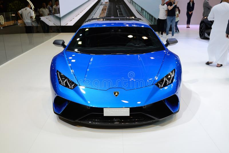 The Lamborghini Huracan Performante sportscar is on Dubai Motor Show 2017 stock image
