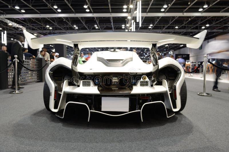 The McLaren P1 GTR race car is Dubai Motor Show 2019 stock image