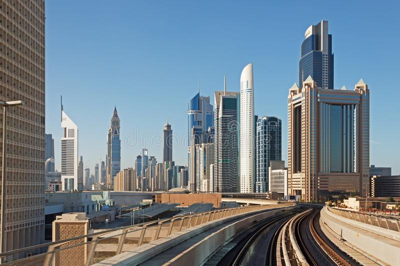 Metro subway tracks in the united arab emirates. DUBAI, UAE - NOVEMBER 18: Dubai Metro as world's longest fully automated metro network (75 km) on November 18 stock images