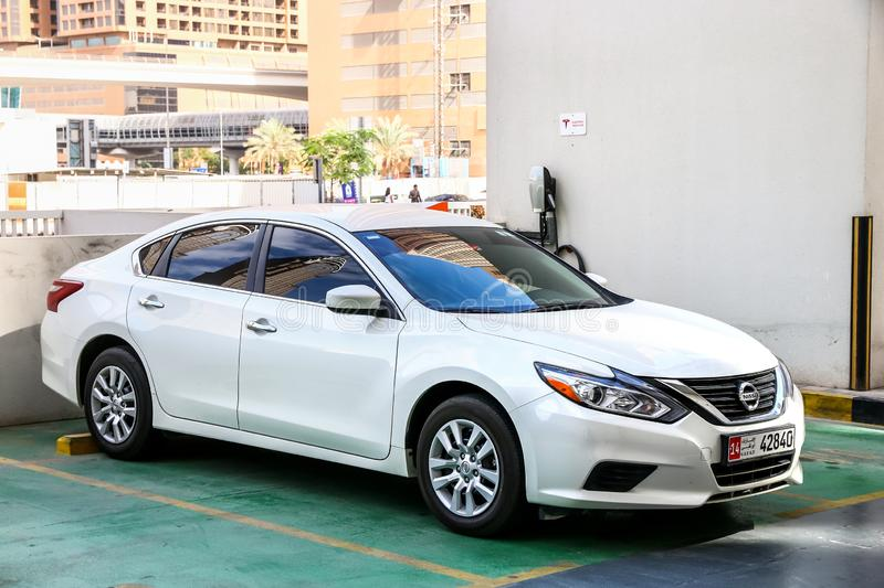 Nissan Altima. Dubai, UAE - November 17, 2018: Motor car Nissan Altima in the city street stock photos