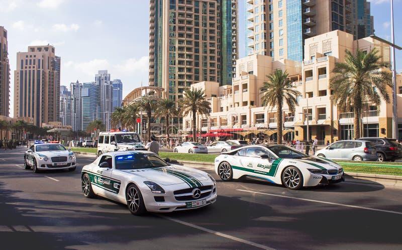 Dubai, UAE - November 28, 2015: Parade 44th anniversary National Day United Arab Emirates. Mohammed Bin Rashid Boulevard royalty free stock image
