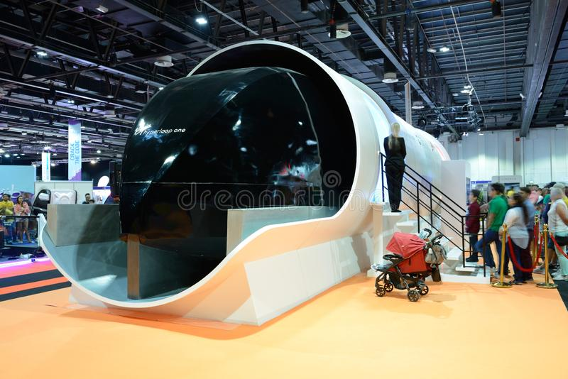 The Virgin Hyperloop One prototype and people are in queue stock photography