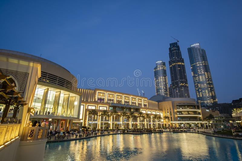 People visiting the Dubai Mall in UAE. Dubai, UAE - Oct 16, 2018: People visiting the Dubai Mall. It is one of the largest mall in the world royalty free stock image