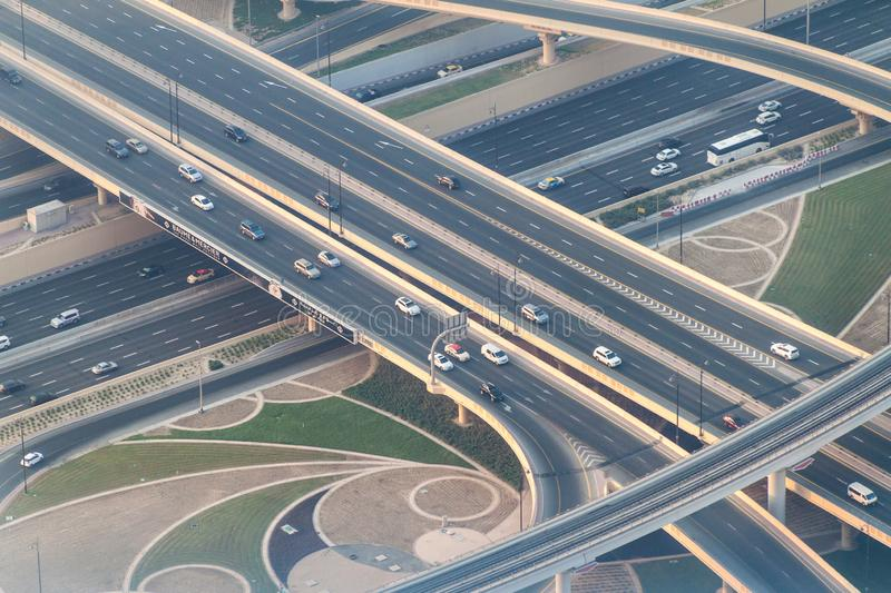 DUBAI, UAE - OCTOBER 21, 2016: Aerial view of a highway intersection in Dubai, United Arab Emirat royalty free stock image