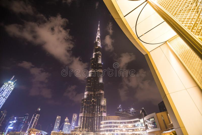 DUBAI, UAE - OCTOBER 2018: A record-setting fountain system set on Burj Khalifa Lake - 6600 lights and 25 projectors, it shoots. Water 150 m into the air, in royalty free stock image