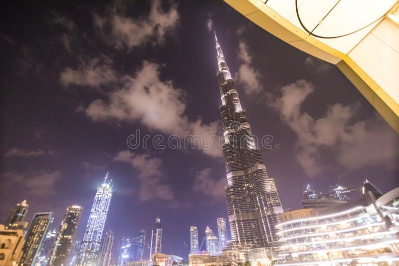 DUBAI, UAE - OCTOBER 2018: A record-setting fountain system set on Burj Khalifa Lake - 6600 lights and 25 projectors, it shoots. Water 150 m into the air, in royalty free stock photos