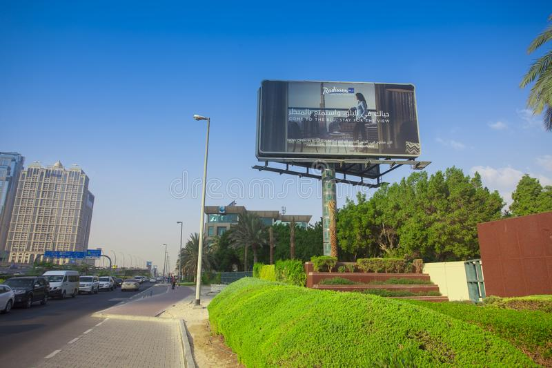 Billboard for commercial in Dubai city stock images