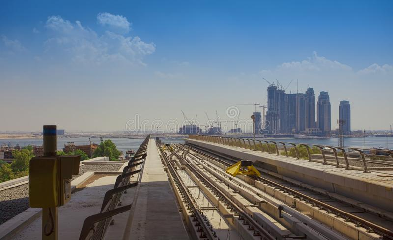 construction of Dubai Creek Tower station in progress stock photography