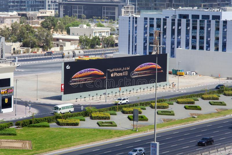 The new Iphone X and XS commercial for sale in Dubai roads. DUBAI, UAE - SEPTEMBER 25 2018: the new Iphone X and XS commercial for sale in Dubai roads stock photos