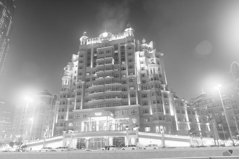 Dubai, United Arab Emirates - December 23, 2017: hotel building with lighting at night. Resort and luxury accommodation stock images