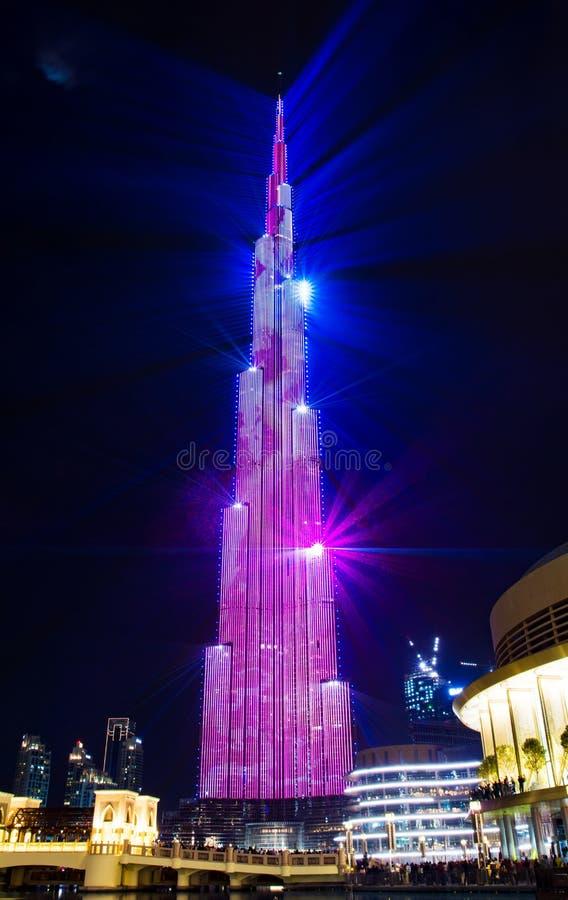 Dubai, United Arab Emirates - February 24, 2018: Laser show on B stock photos