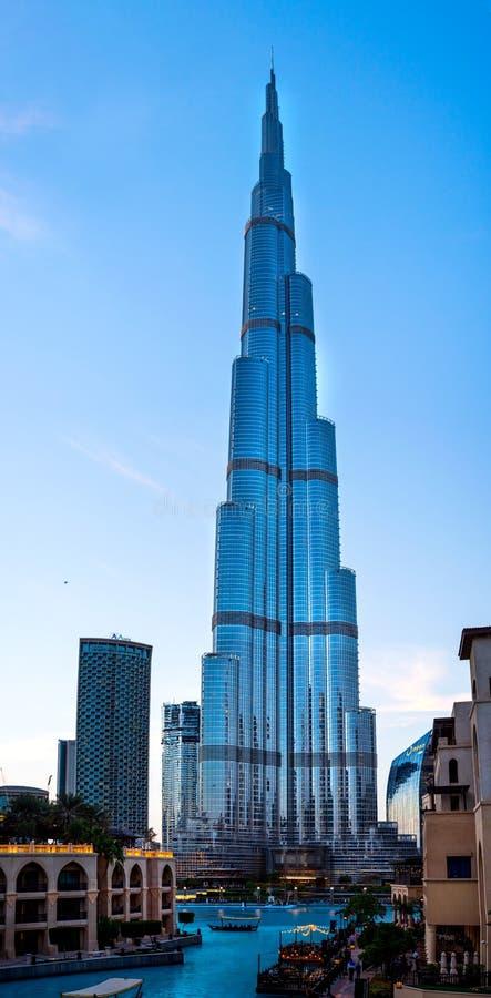 Dubai, United Arab Emirates - January 31, 2018: Burj Khalifa view over the Dubai fountain from the Palace Downtown hotel royalty free stock images