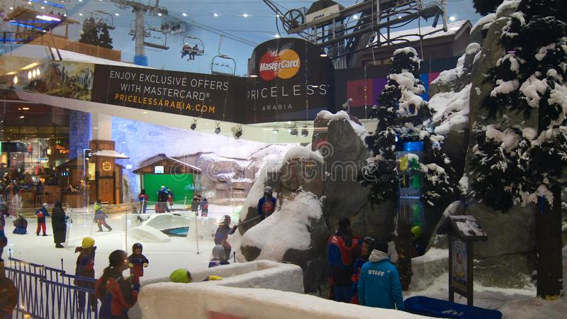 DUBAI, UNITED ARAB EMIRATES - MARCH 30th, 2014: Alpine ski in Dubai. Ski Dubai is an indoor ski resort with 22,500 stock photo