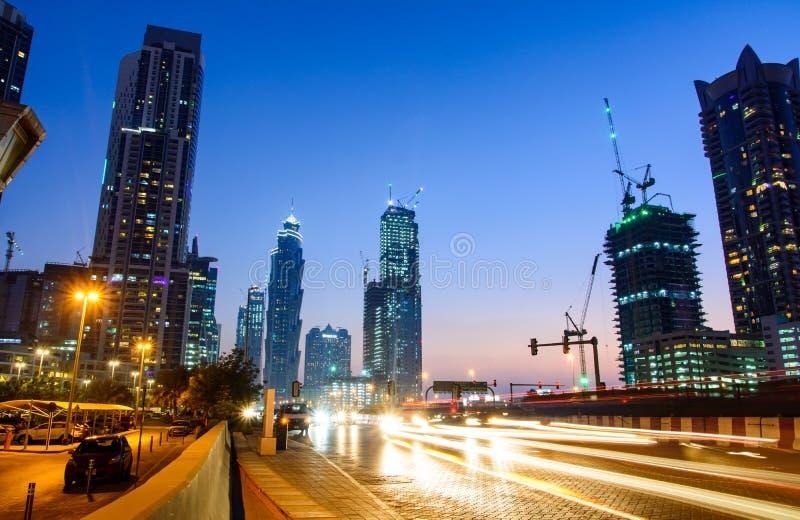 DUBAI, UNITED ARAB EMIRATES - OCTOBER 18, 2017: Dubai night scene in Business bay area with light trails stock images