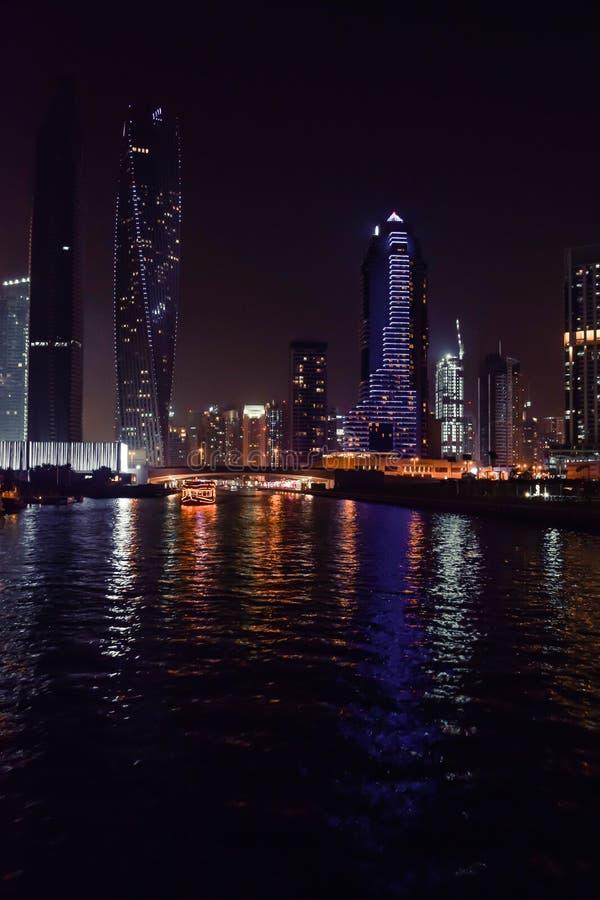 DUBAI, UNITED ARAB EMIRATES - UAE - 23 APRIL 2016: Skyscrapers of Dubai Marina at night. royalty free stock photo