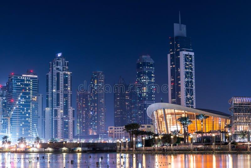 Dubai waterfront at night royalty free stock image