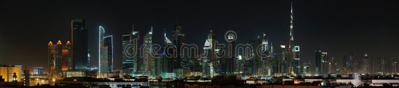 Dubai. World Trade center and Burj Khalifa at night royalty free stock photography