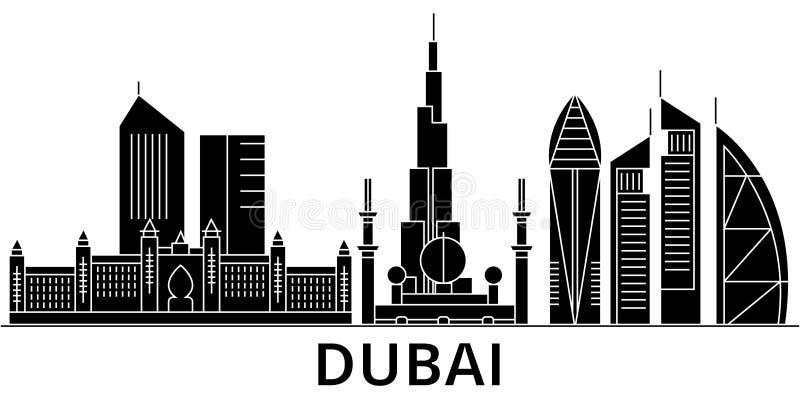 Dubaj architektury miasta wektorowa linia horyzontu, podróż pejzaż miejski z punktami zwrotnymi, budynki, odosobneni widoki na tl ilustracji