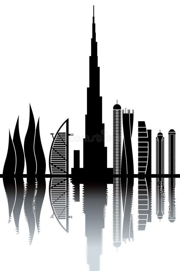 Dubaj linia horyzontu royalty ilustracja