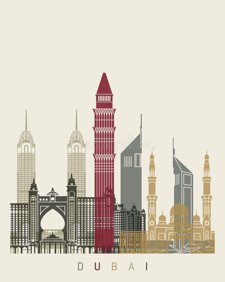 Dubaj linii horyzontu plakat royalty ilustracja