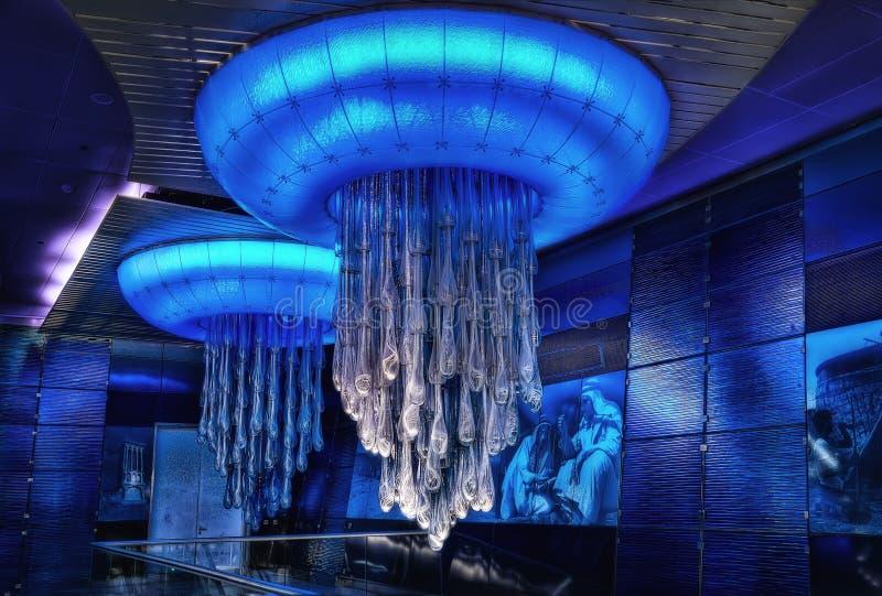 Dubaj metra światła fotografia royalty free