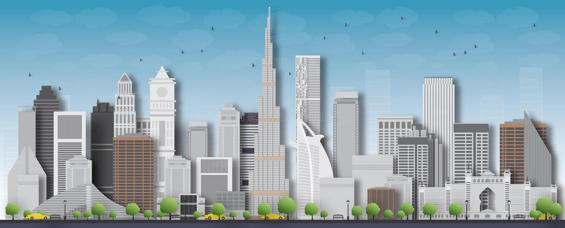 Dubaj miasta linii horyzontu szczegółowa sylwetka również zwrócić corel ilustracji wektora royalty ilustracja