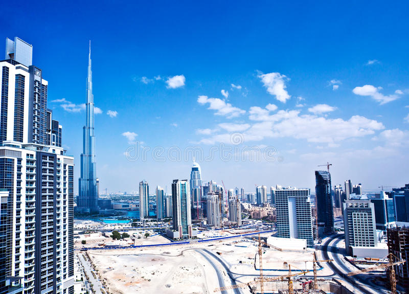 Dubaj miasto panoramiczny wizerunek zdjęcie royalty free